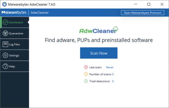 Find Malwares AdwCleaner