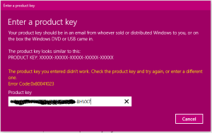 Windows 10 product key problems